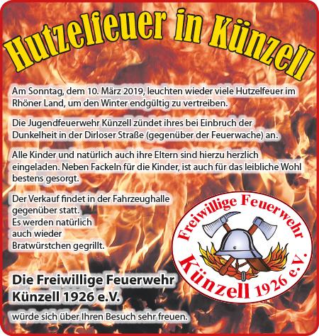 Einladung zum Hutzelfeuer bei Einbruch der Dunkelheit am 10.03.2019 gegenüber dem Feuerwehrhaus Künzell.